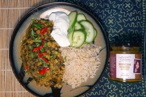 One Pot Split Pea Spinach Curry plating