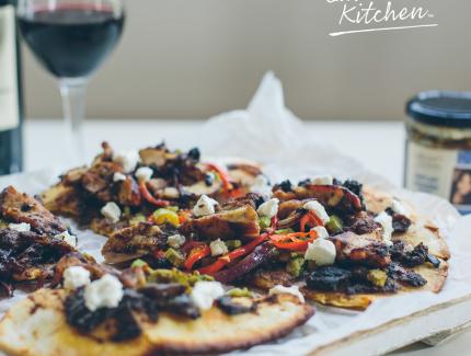 Tasty chicken, caramelised onion and eggplant kasaundi pizza