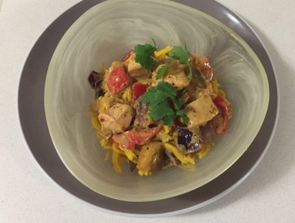 Thai Red Curry Noodles with Salmon