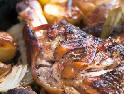 Leg of Lamb with Orange Chimichurri  & Jalapeño Relish (video)