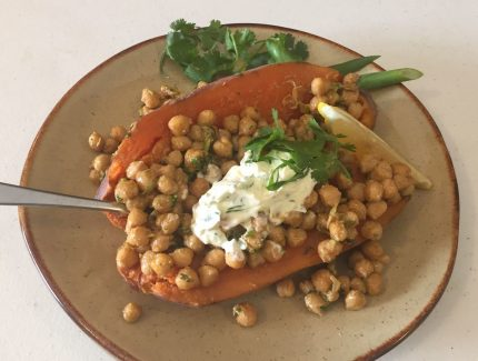 Stuffed Sweet Potato with Tandoori Chickpeas