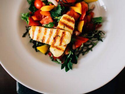 Veggie Haloumi Salad with Latasha's Kitchen Caramelised Balsamic Vinegar