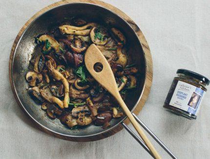 Mushrooms with Eggplant Kasaundi Chutney