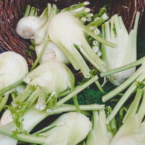 Basket of fennel bulbs