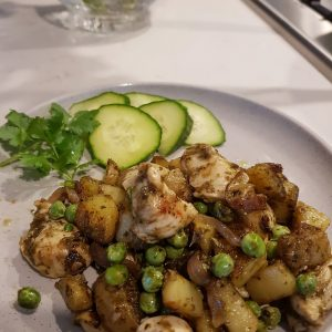 Coriander Chicken Tenderloins with Peas and Potatoes